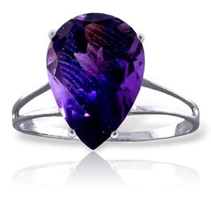 14K. SOLID GOLD RING WITH NATURAL AMETHYST